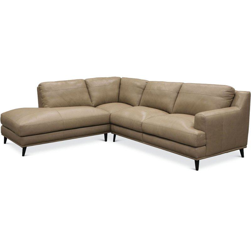 Beige 2 Piece Leather Sectional Sofa With Laf Chaise Houston