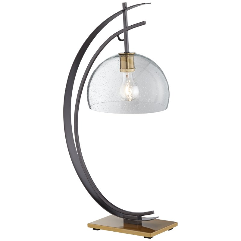 Gun Metal Half Moon Table Lamp With Clear Shade Rc Willey