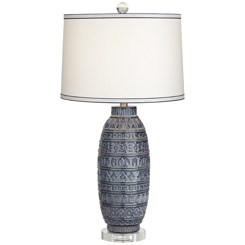 Dark Blue Ceramic Table Lamp Cullen Rc Willey Furniture Store