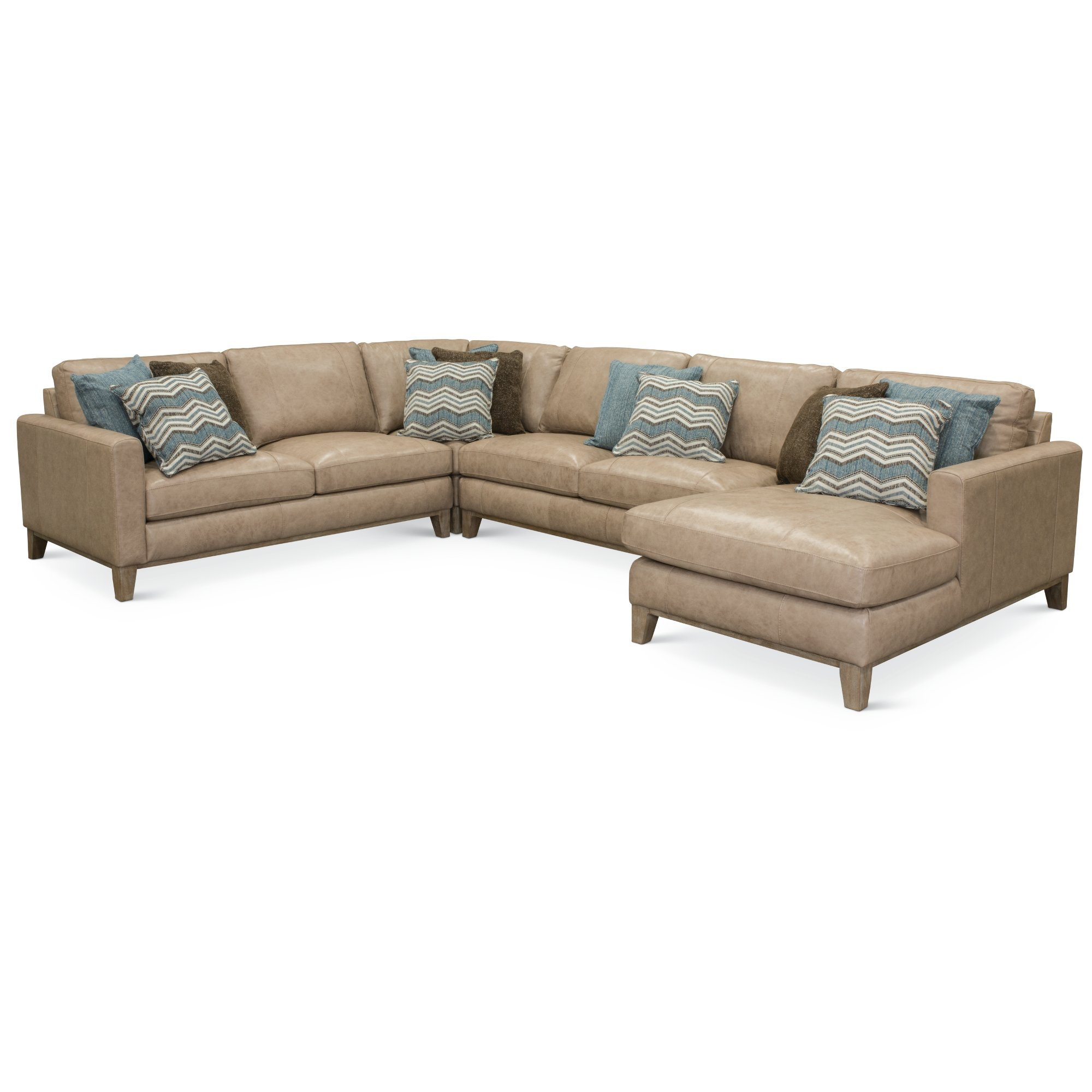 Contemporary 4 Piece Sand Leather Sectional Sofa Mutual