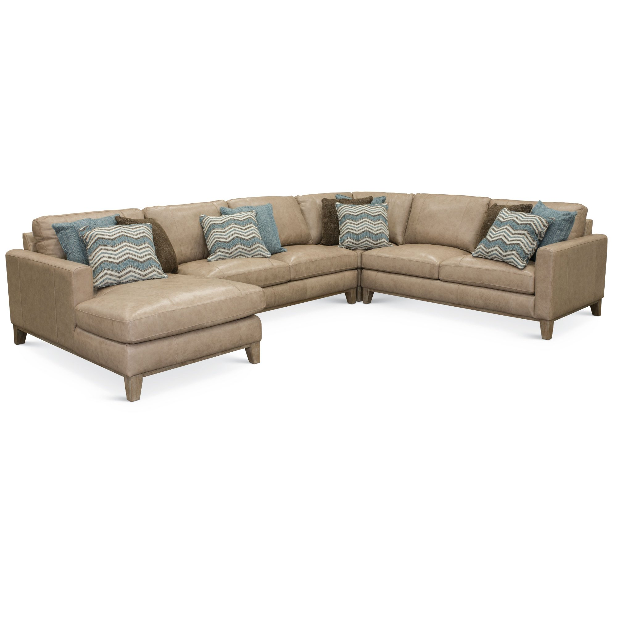 Contemporary 4 Piece Sand Leather Sectional Sofa