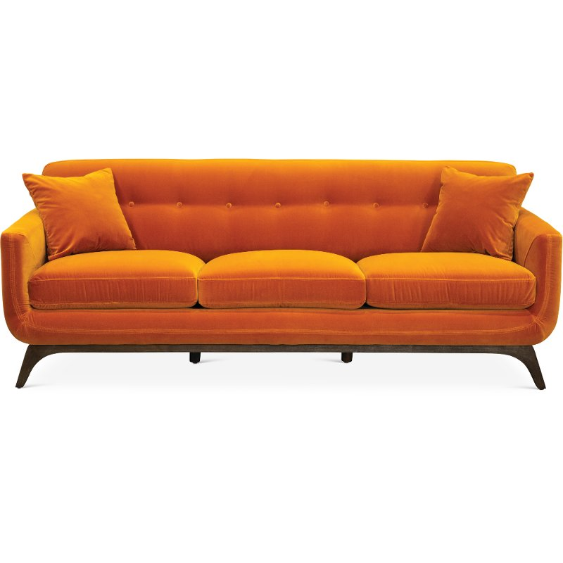 Mid Century Modern Amber Orange Sofa Falkirk Rc Willey Furniture