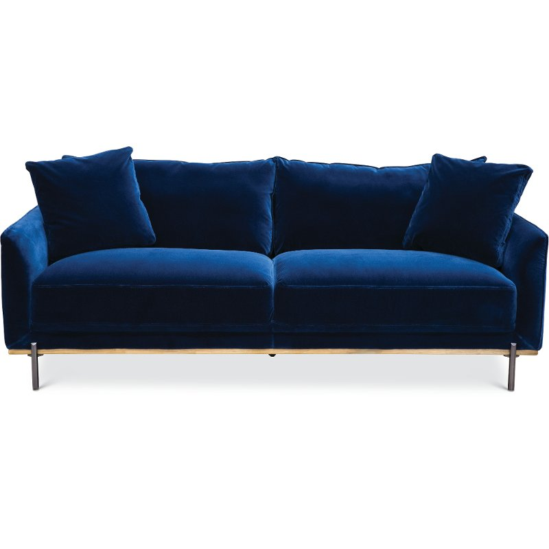 Modern Royal Blue Velvet Sofa Marseille Rc Willey