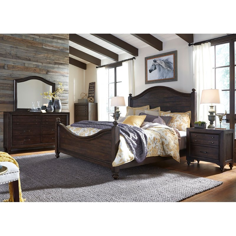 Traditional Dark Brown 4 Piece King Bedroom Set - Catawba