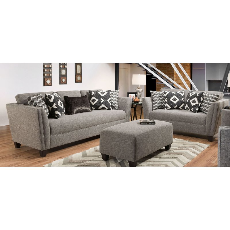 Modern Contemporary Gray 2 Piece Living Room Set Carbon