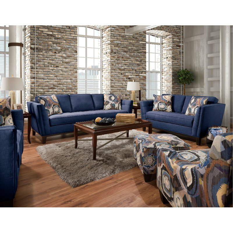 Mid Century Modern Blue 2 Piece Living Room