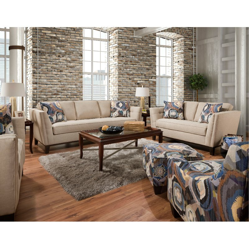 Mid Century Modern Taupe 2 Piece Living Room Set - Patchquilt | RC ...