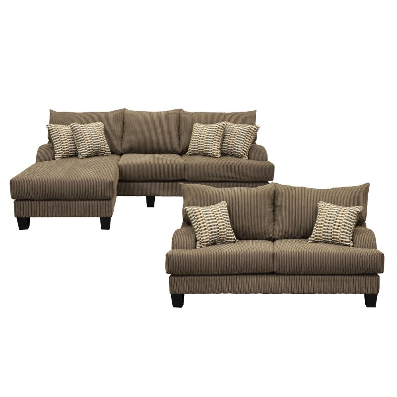 Dark Gray 2 Piece Living Room Set with Sofa-Chaise - Laguna