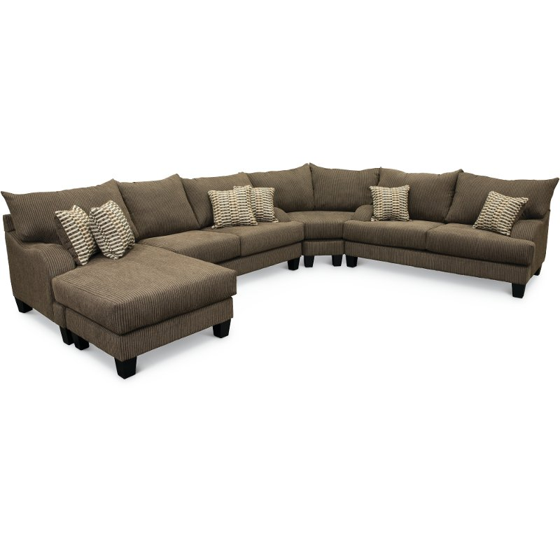 Beau Contemporary Dark Gray 3 Piece Sectional Sofa Chaise   Laguna