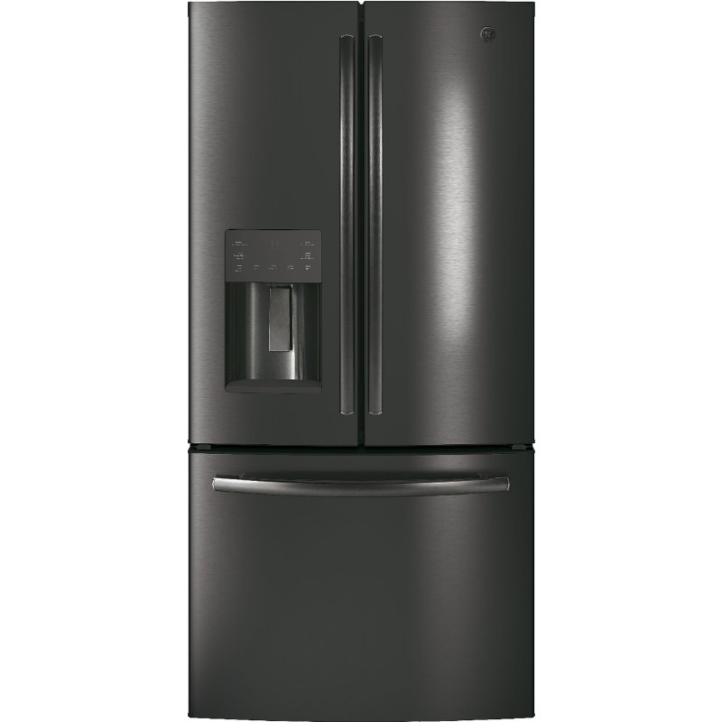 Ge French Door Refrigerator 33 Inch Black Stainless Steel Counter