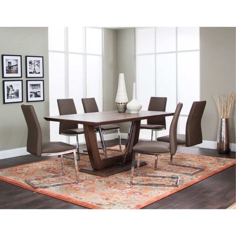 Dining Room Table Clearance: Oak And Chrome Modern Dining Table - Magna