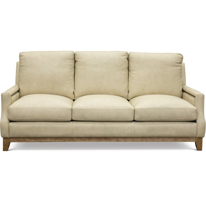 Casual Contemporary Beige Leather Sofa Calais Rc Willey Furniture