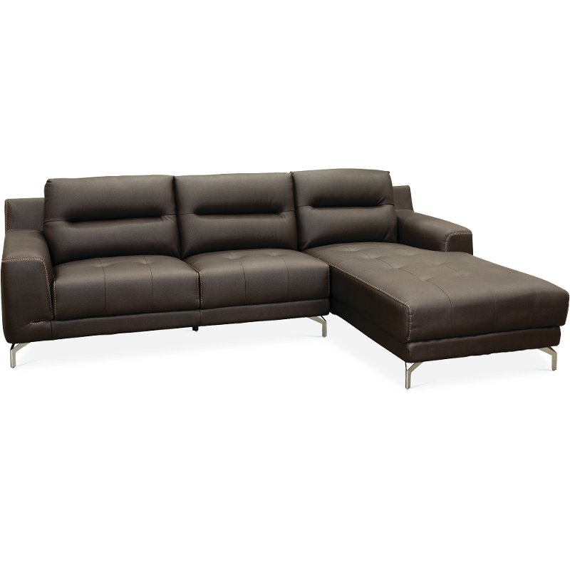 Superbe Contemporary Modern Brown 2 Piece Sectional Sofa   Tyler
