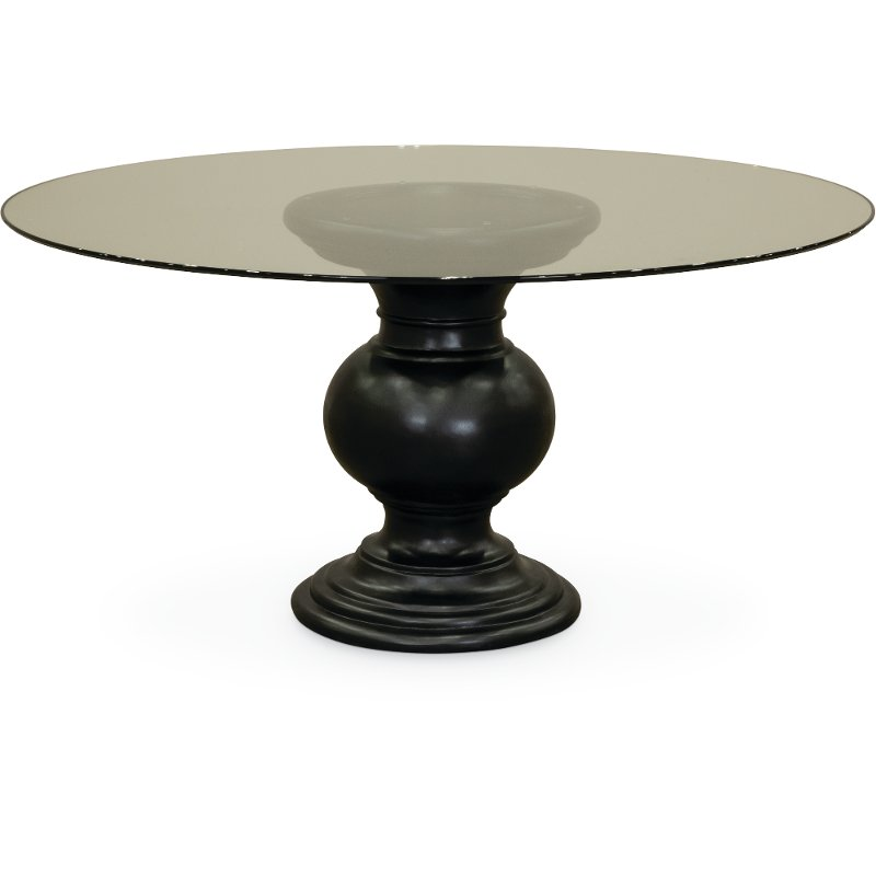Turned Pedestal Round Glass Dining Table Serena Rc Willey