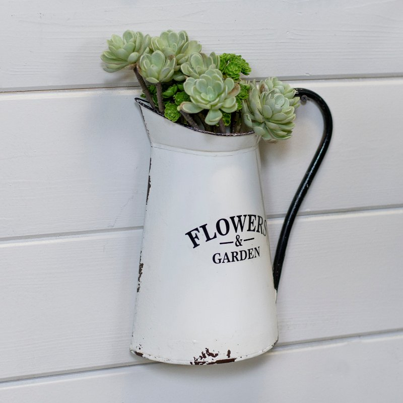White And Black Flowers And Garden Metal Wall Planter Rc Willey