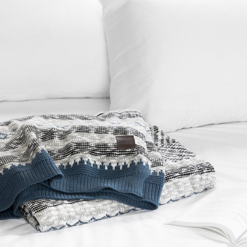 Blue And Gray CableKnit Throw Blanket Lodge RC Willey Furniture Beauteous White Cable Knit Throw Blanket