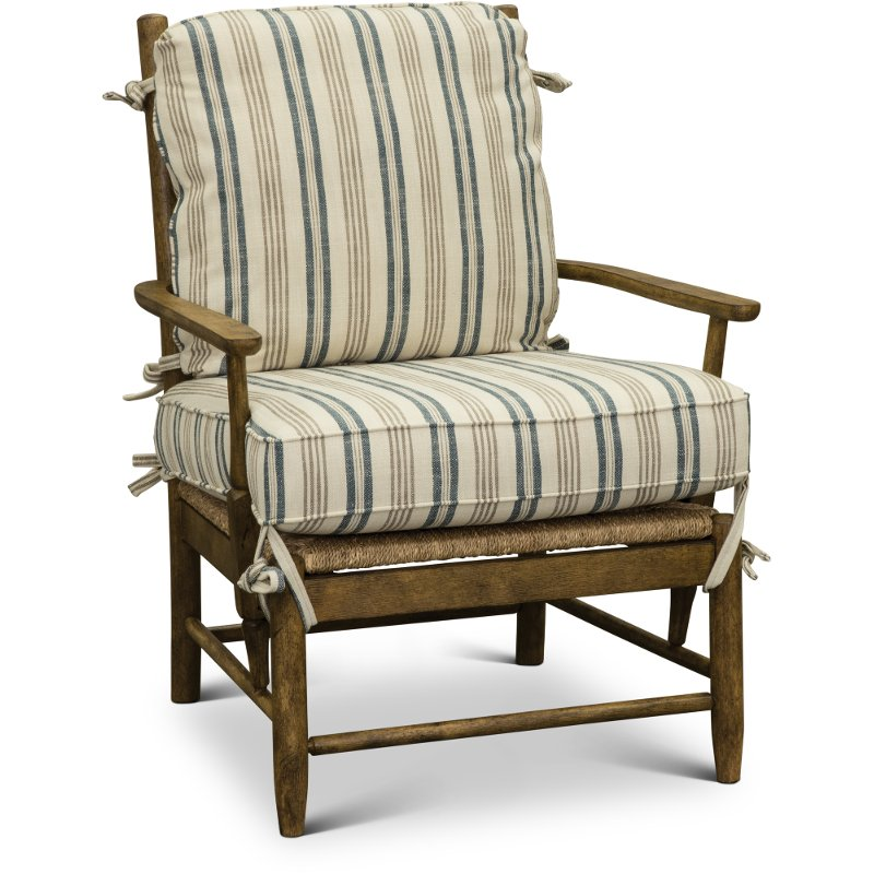 Cream Tan And Blue Striped Accent Chair   Riverbank