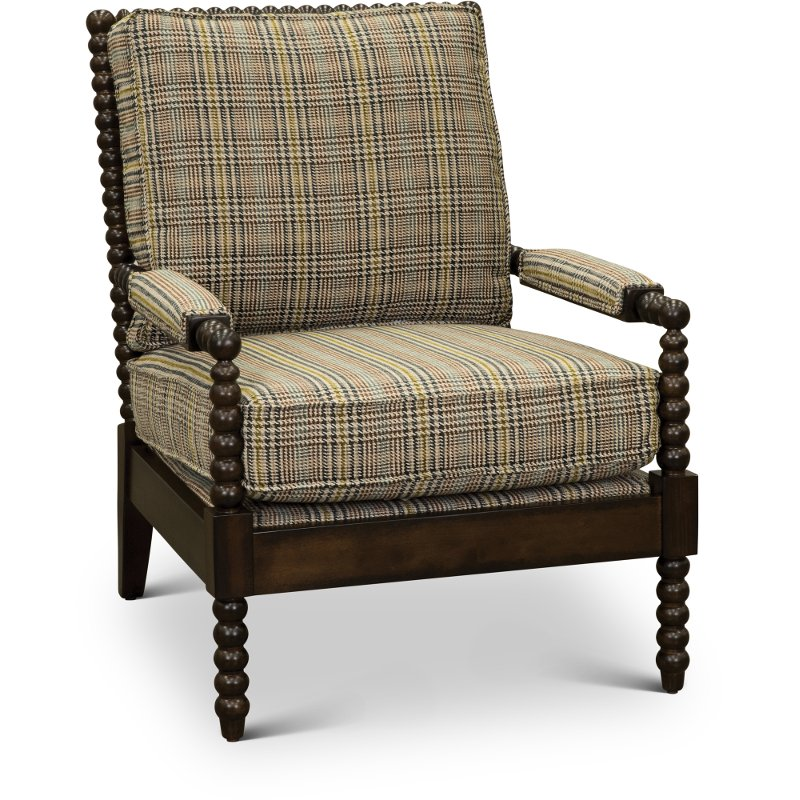 Tan Accent Chair With Multi Color Stripes   Rocco