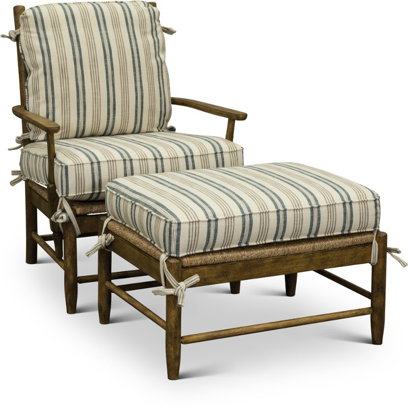 2 Piece Striped Accent Chair And Ottoman Riverbank