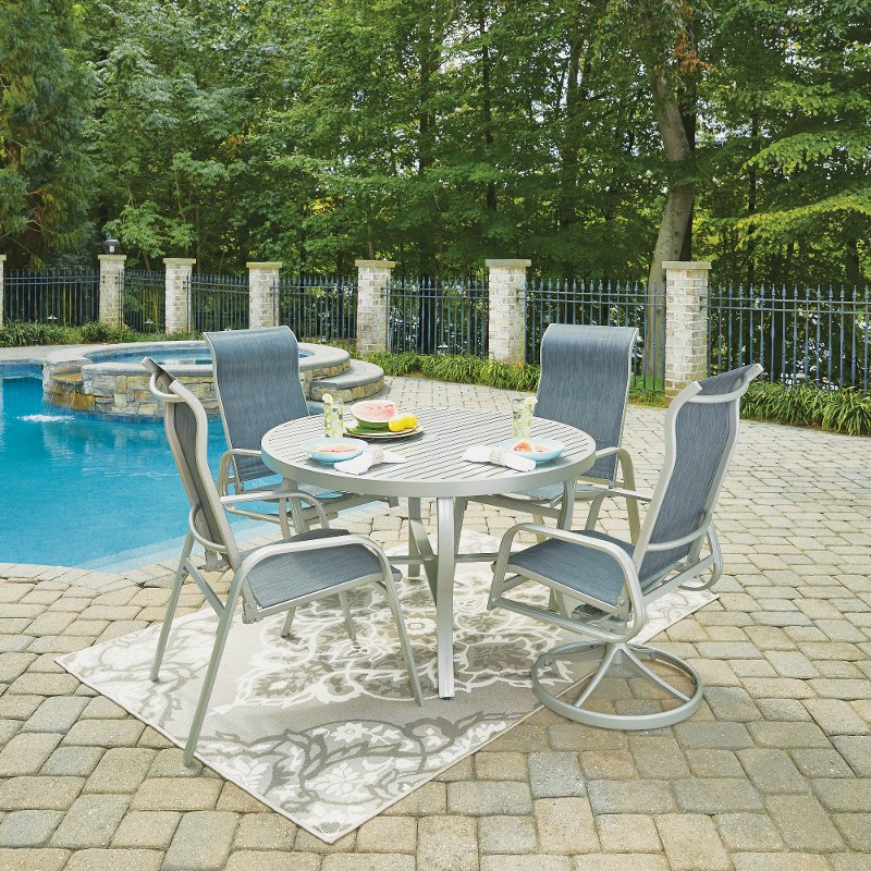 5 Piece Round Outdoor Patio Dining Set South Beach