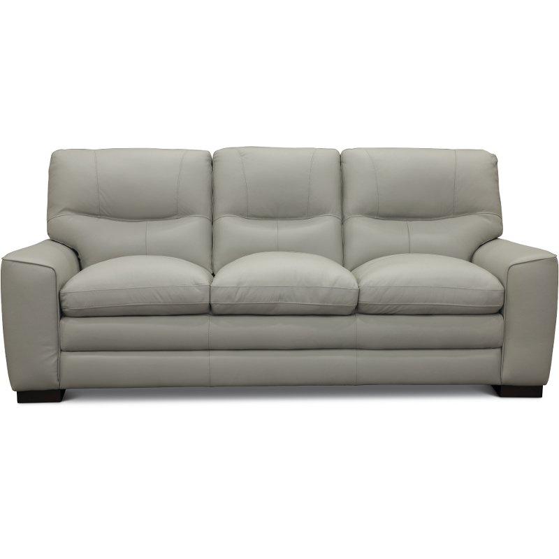 Contemporary Dove Gray Leather Sofa   Glasgow | RC Willey Furniture Store