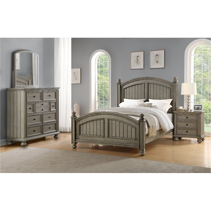 High Quality Casual Classic Gray 6 Piece Queen Bedroom Set   Barnwell