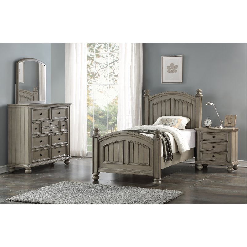 Casual Classic Gray 4 Piece Twin Bedroom Set   Barnwell