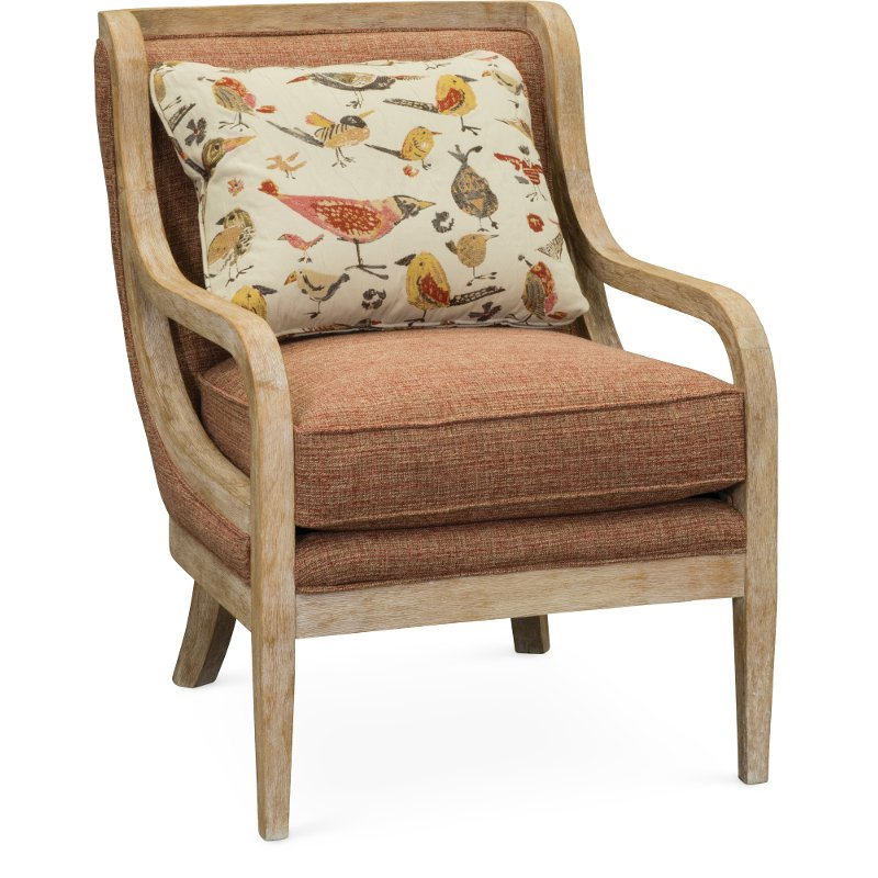 Orange, Red And Cream Accent Chair   Jefferson