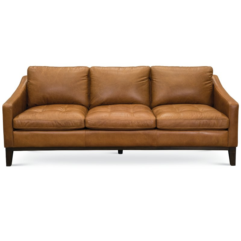 Mid Century Modern Chestnut Brown Leather Sofa - Monza