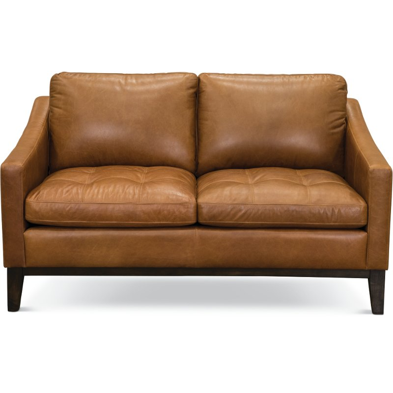 Jcpenney Furniture Store Locations: Mid-Century Modern Chestnut Brown Leather Loveseat