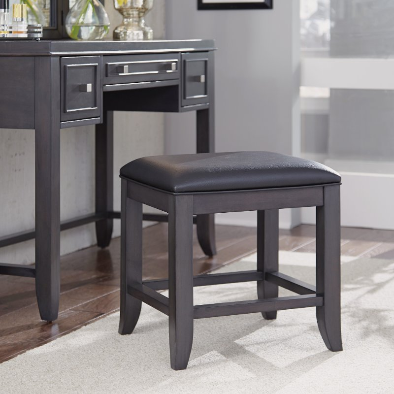 Furniture Store Contemporary: Contemporary Gray Vanity Bench - 5th Avenue