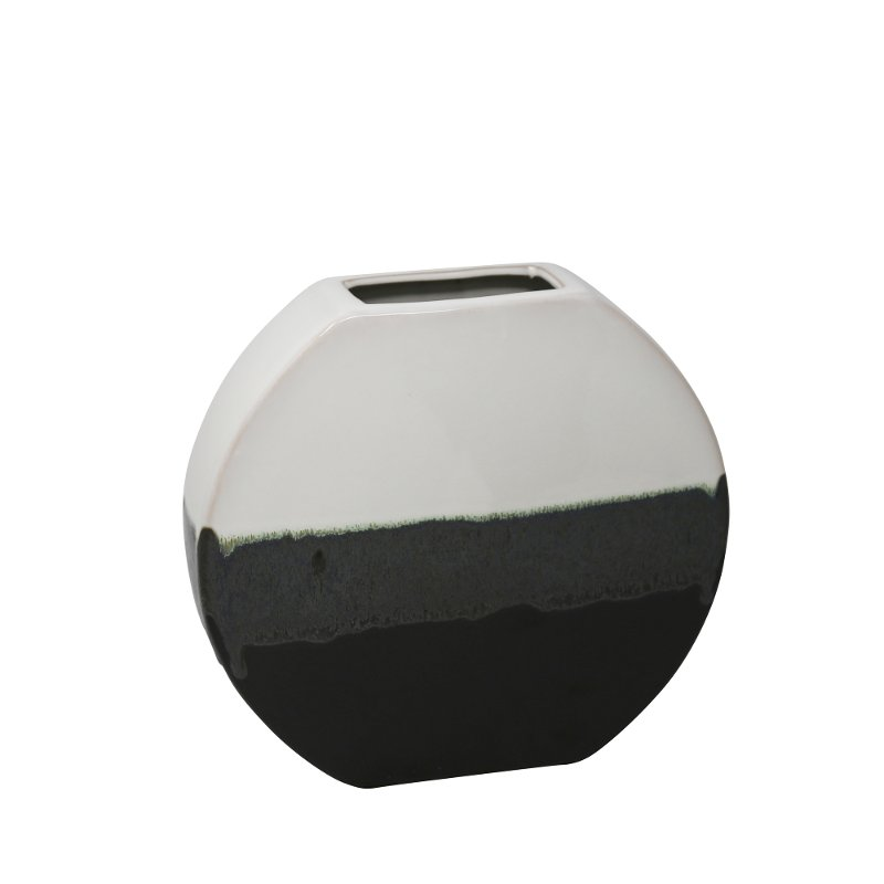 10 Inch White And Black Ceramic Vase Rc Willey Furniture Store
