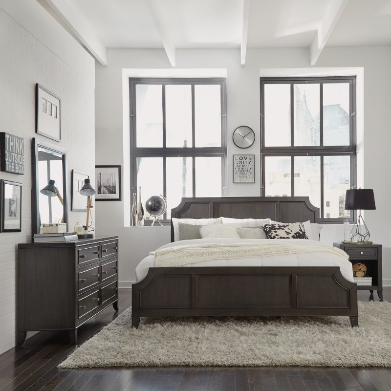 Classic Contemporary Gray 4 Piece King Bedroom Set 5th Avenue Rc