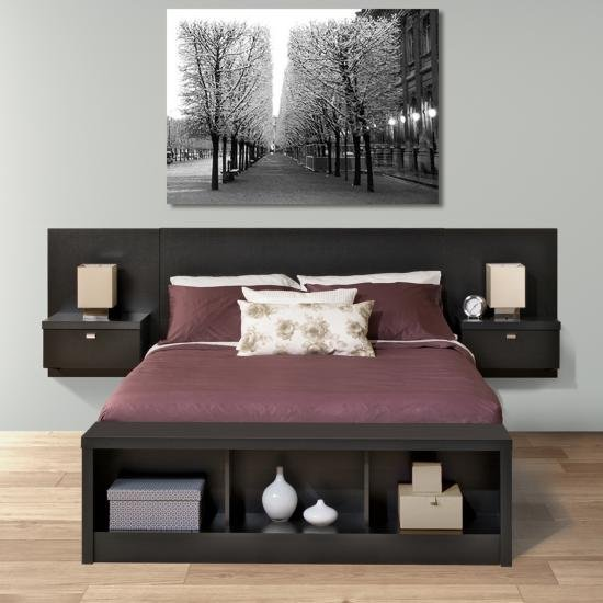 new products c344e 14cd7 Modern Black Floating Queen Headboard with Nightstands ...