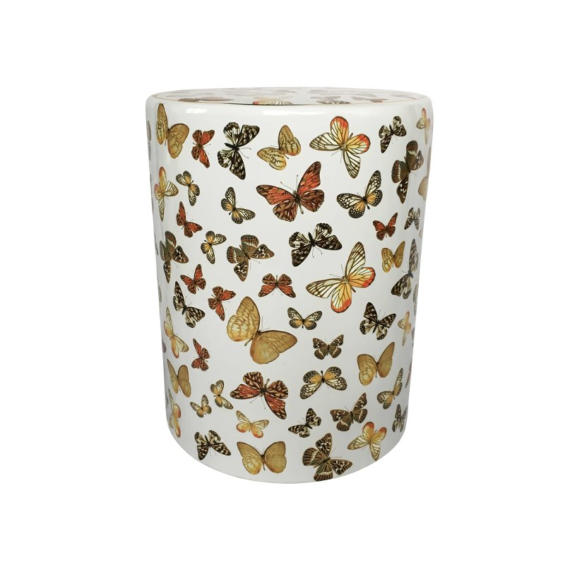 White Ceramic Garden Stool With Butterfly Pattern