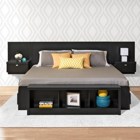 Modern Black Floating King Headboard With Nightstands   Series 9