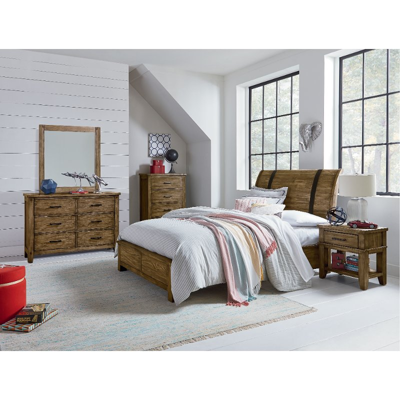 Rustic Casual Pine 6 Piece Full Youth Bedroom Set   Nelson