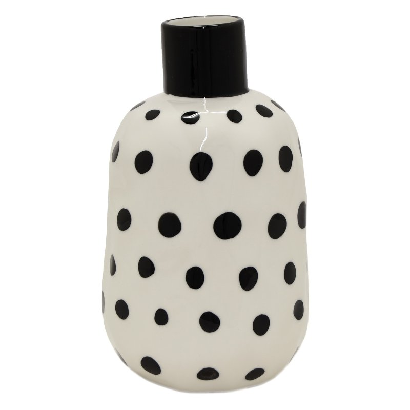 7 Inch White Ceramic Vase With Black Dots Rc Willey Furniture Store