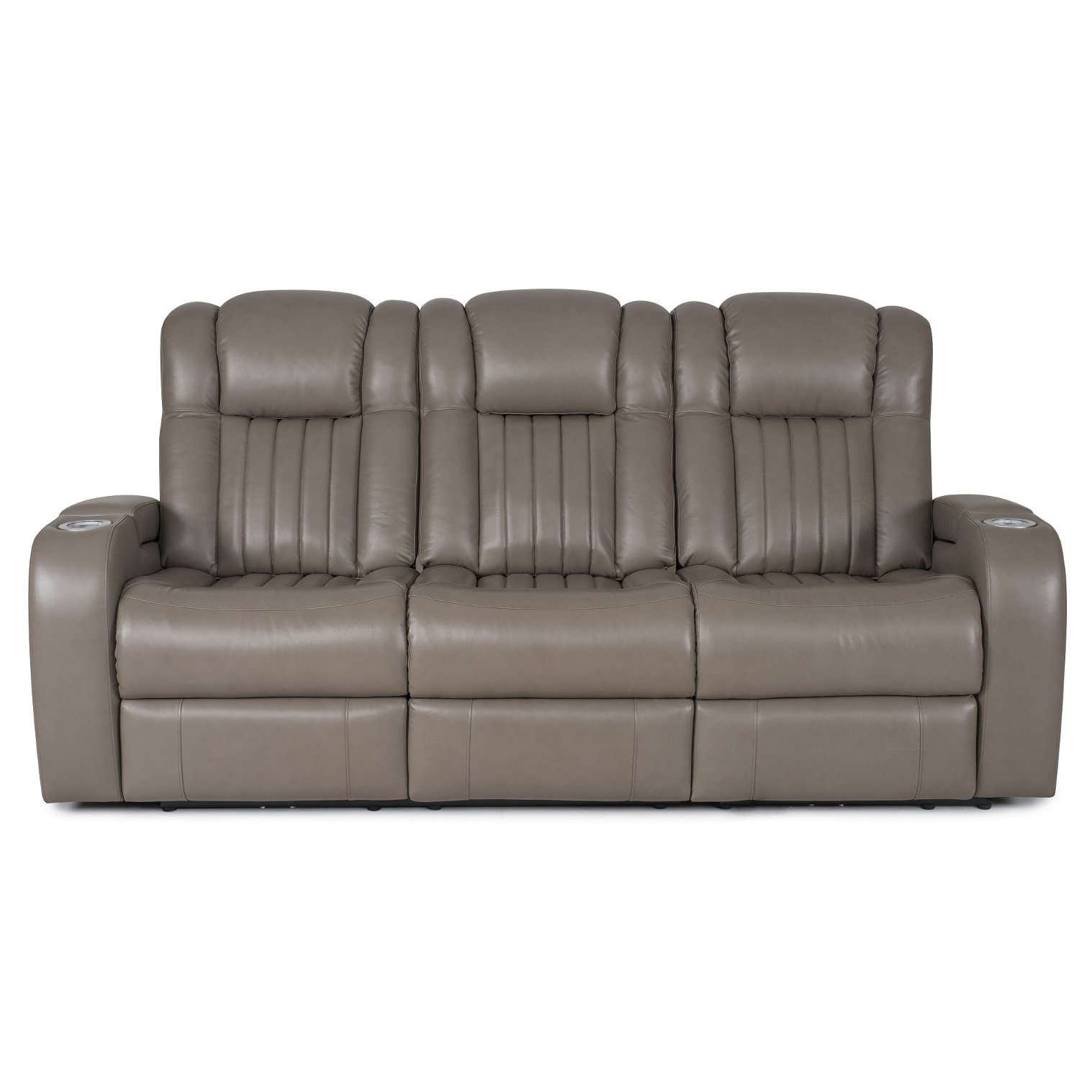 Genesis Gray Leather Match Power Reclining Sofa   Transformer