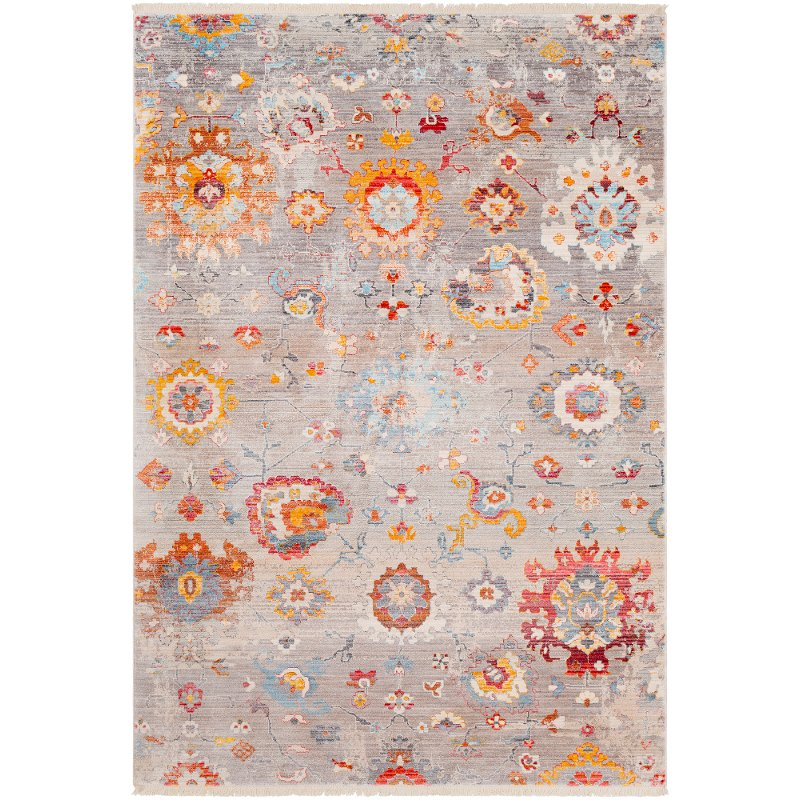 Transitional Gray Red And Blue 9 Foot Runner Rug