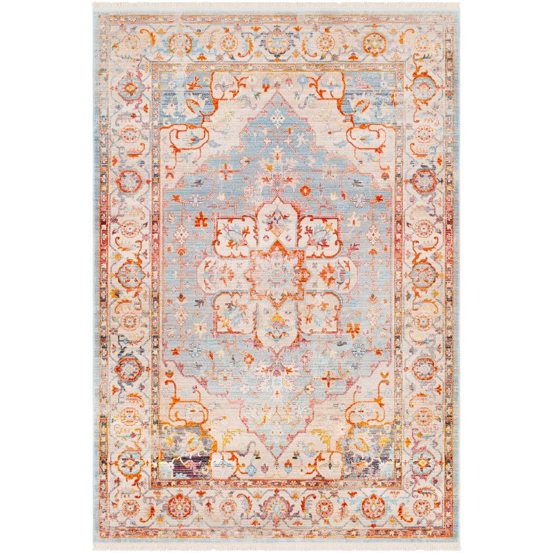 8 X 10 Large Transitional Gray And Orange Area Rug Ephesians