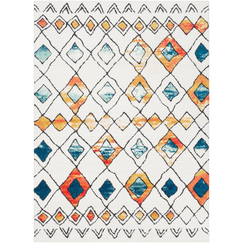 7 X 10 Large White Blue And Orange Area Rug Moroccan Shag Rc