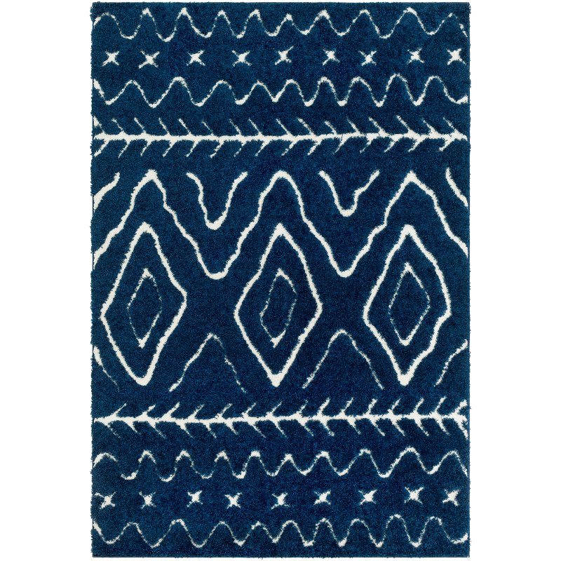 8 X 10 Large Navy Blue And Cream Area Rug Cut Loop