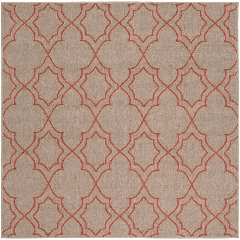 9\' Square Camel and Rust Indoor-Outdoor Rug - Alfresco | RC Willey ...