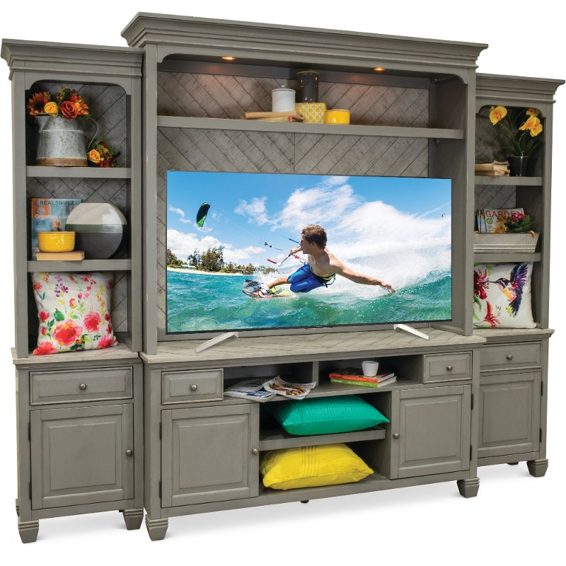 Classic Gray 4 Piece Modern Entertainment Center   Jordan