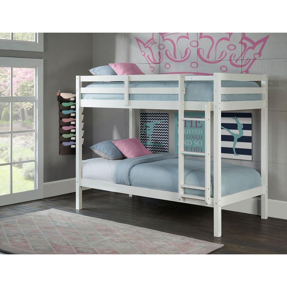 Classic Contemporary White Twin-over-Twin Bunk Bed - Caspian