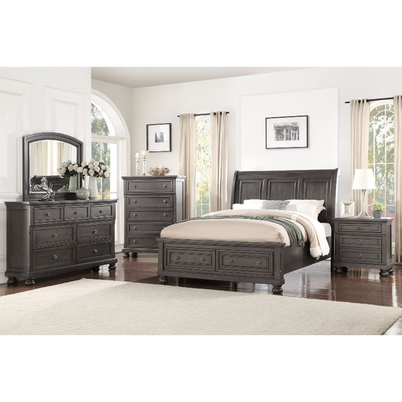 Willey Furniture: Classic Traditional Gray 4 Piece Queen Bedroom Set