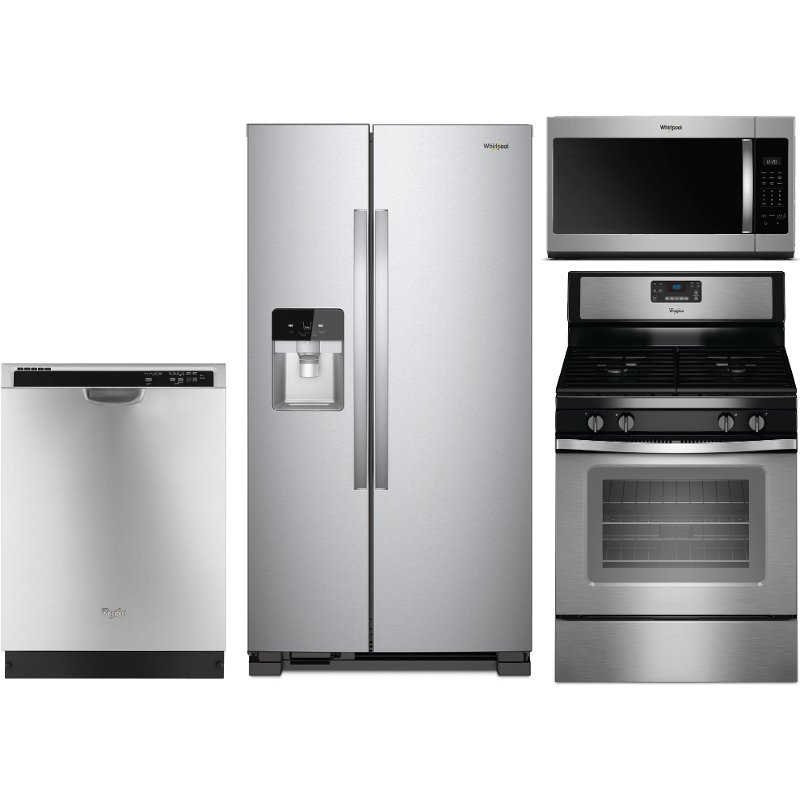 whirlpool 4 piece kitchen appliance package with gas range stainless steel rc willey. Black Bedroom Furniture Sets. Home Design Ideas