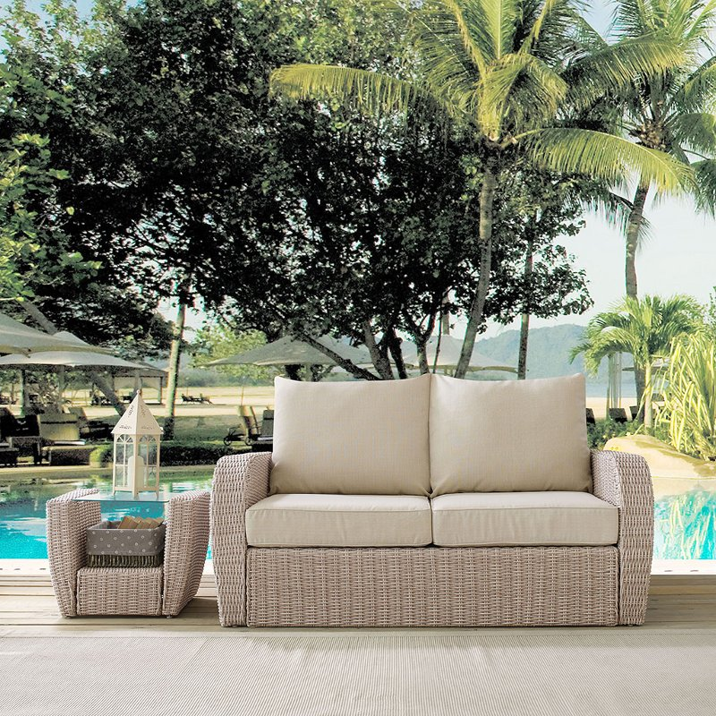 Terrific Outdoor Wicker Loveseat With Oatmeal Cushions St Augustine Cjindustries Chair Design For Home Cjindustriesco