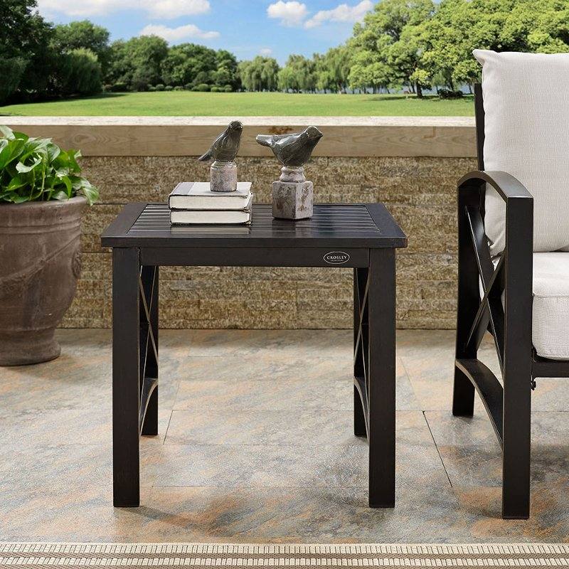 Oiled Bronze Outdoor Patio Side Table Kaplan Rc Willey Furniture